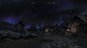 Looking north at the aurora from Whiterun Stables