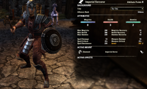 Imperial Heavy Armor Tanking Sorcerer -- note the maxed out physical resistance.
