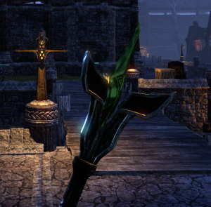 I really like the Dunmer staff look.  This is a level 40 green-quality one that I crafted.