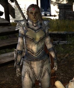 What's wrong with this picture?  2 things --  1)The orc's actually attractive and 2) Where's the rest of her armor?