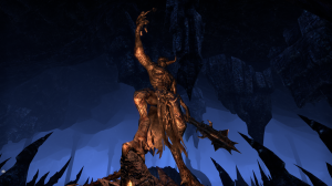 Molag Bal's statue in the Forge of Woe