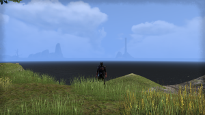 Is the the central spire of Cyrodil in the distance?  Looking at the map I'd think it was *way* too far.... but it still looks like it to me.