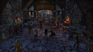 Blue healthbars = players.  Riften was quite populated when I took this, don't you think?