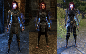 At level 20 I went back to the Breton armor look, but the light stuff didn't go well with the breastplate, so I converted to Imperial.  The right-most psrt is that at 26 I went back to the Bosmer look.