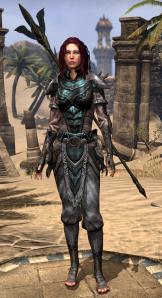 My level 36 gear -- Bosmer armor and an Altmer staff.
