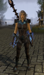 Really liked the look of this costume, though it too has ESO's funky hip pieces that flap all over when you run.