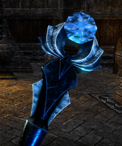 Blue quality VR1 Ancient Elf motif staff topper.  That's one big-ass diamond!