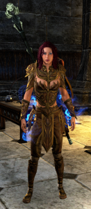 Caster Sorc in her VR2 Golden Saint Costume