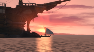 Sailing into the sunset after completing the level 30 Arcanist quest.