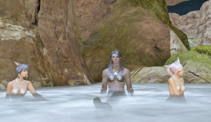These women tasked me with scaring off some oglers.  After doing so, I decided to join them for a soak too, since the 1-month vet reward is a bikini so I had appropriate attire.