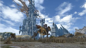 Limsa Lominsa in the background as I ride my chocobo