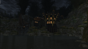 Looking at Gridania's Adventurer's Guild / Airship port from out in the world
