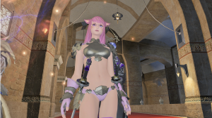 This is actually a player character.  Platemail bikinis for all, I guess.