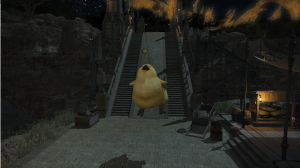 She's rather fond of the fat chocobo mount too, and asked me to take a picture of her jumping on it, so.. here it is!