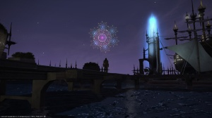 Watching the fireworks from Limsa Lominsa's docks
