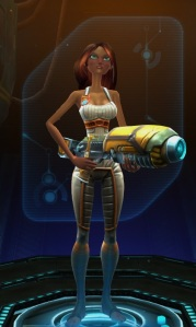 """Human Engineer.  No real reason for this combo other than I wanted an engineer to round out the 6 and for the Exiles I like the human appearance best.  Base on the """"late game armor preview"""" she'll look like a robot before long anyway, so the actual racial appearance won't matter.  Vaguely remember the gameplay from my 1st outing back in the open beta, and the little bit I did at level 1 this time seemed the same.  Didn't feel it then, not really feeling it now either, but we'll see how it is as I get up a bit higher."""