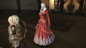 Dark Knight in a red wedding dress. I wonder if this is a subtle Game of Thrones reference?